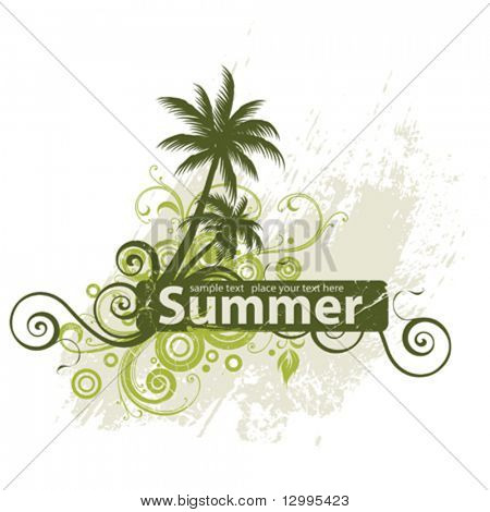 Vector frame with stylized palm trees