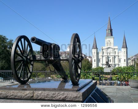 cannon and st. louis cathedral in new