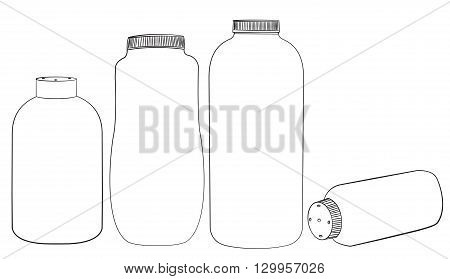 Baby talcum powder container vector outline Illustration