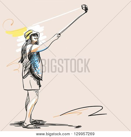 Sketch of women taking a selfie with smart phone, Hand drawn illustration