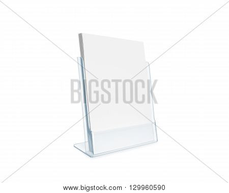 Blank flyer mockup glass plastic transparent holder isolated. Plain flier stand. Clear brochure holding. Clean sheet mock up design presentation. Shows flyer. Pamphlet design. Empty paper template.