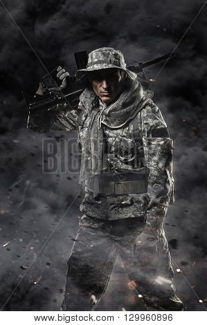 Military war conflict soldiers - Special forces soldier man hold Machine gun on a dark background