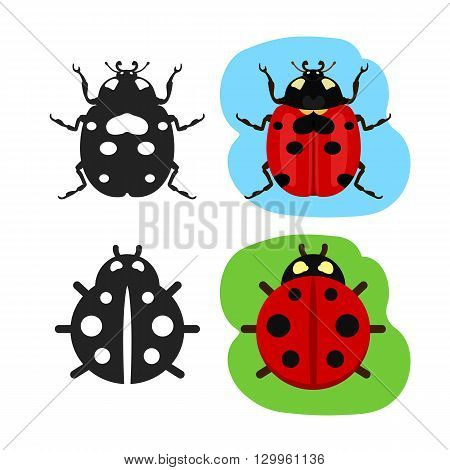 Ladybug flat color vector icon, black silhouette bug ladybug simple line icon, ladybug vector sign collection of shape black contour and flat colorful ladybug symbols
