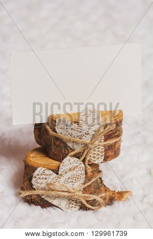 Rustic Background With Wooden Card Holder And Place For Text