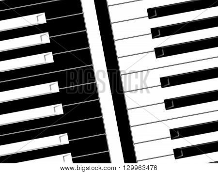 Black and white keys of the piano