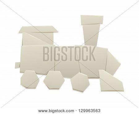 Cartoon paper origami train locomotive symbol and train passenger icon. Cartoon retro train paper vector symbol railway origami transport. Origami train speed transport and origami train sign tourism.