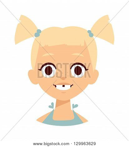 Happy smiling cheerful baby girl laughing. girl laughing vector illustration and girl laughing fun little kid. Cute girl laughing flat vector character. Portrait happy fun girl laughing.
