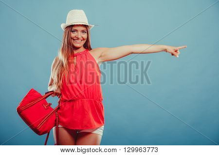 Fashion Woman Showing Blank Empty Copyspace.