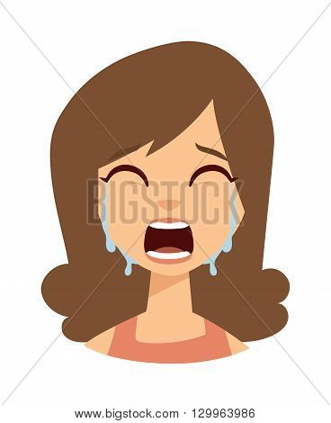 Unhappy woman crying vector. Woman crying sadness girl and cute woman crying face. Face depressed portrait woman crying and woman crying expression frustration tears eyes problem emotion.