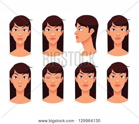 Plastic reconstructive surgery face, isolated vector cartoon illustration, surgical correction of the human person, podtyashka chin, nose correction eye face ear surgery