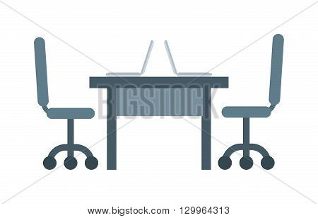Interior of working place concept in flat design. Work place vector and modern work place table interior. Work place design and creativity work place space. Office work place occupation professional.