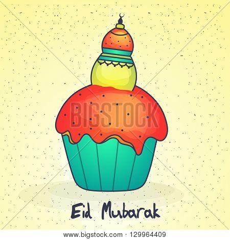 Muslim Community Festival, Eid Mubarak celebration with colourful delicious cupcake on yellow background.