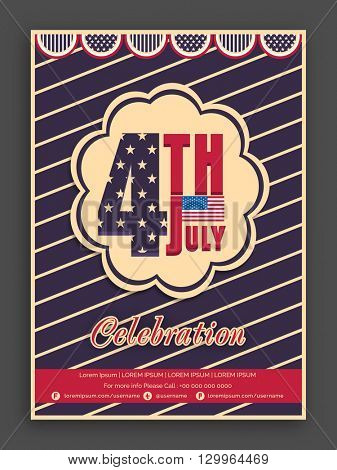 Vintage Pamphlet, Banner or Flyer design with American Flag colors text 4th July for Independence Day celebration.