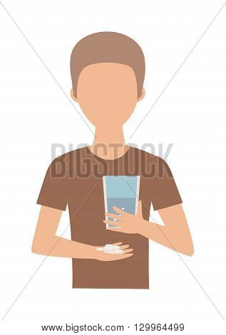 Teenage boy and pills. Suicide pills vector concept and boy suicide pills. Suicide pills overdose, health, addiction and suicide pills pharmacy, pain. Tablet hand sickness cure prescription dosage.