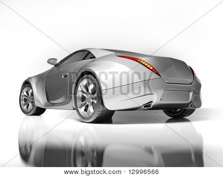 Sports car isolated on white. My own car design. Not associated with any brand.