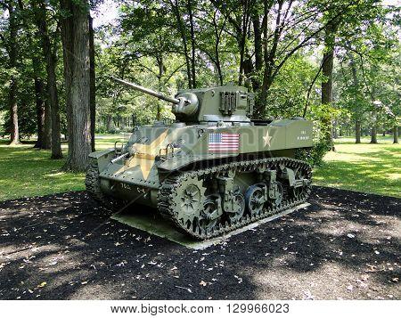 M5 Stuart light tank. American light tank used in World War Two.