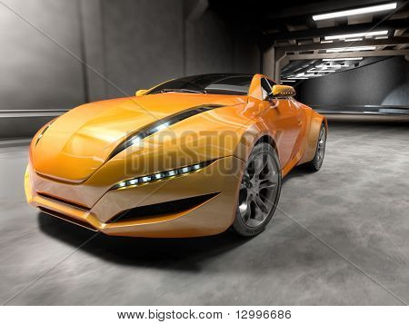 Car in tunnel. My own car design, not associated with any brand.