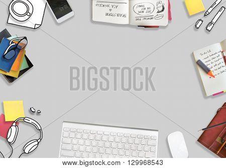 Copy Space Laptop Social Media Desktop Concept