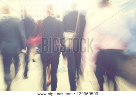 Business People Rush Hour Busy Walking Commuter Concept