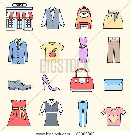 Many object purchased in the shop. Shopping circle abstract background concept. In flat thin lines outline style icons with shop label design illustration.