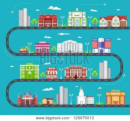 Flat colorful vector city buildings set. Icon background concept design. Architecture construction: courthouse, home, museum, skyscraper, hospital, hotel, opera, theater. Urban landscape design