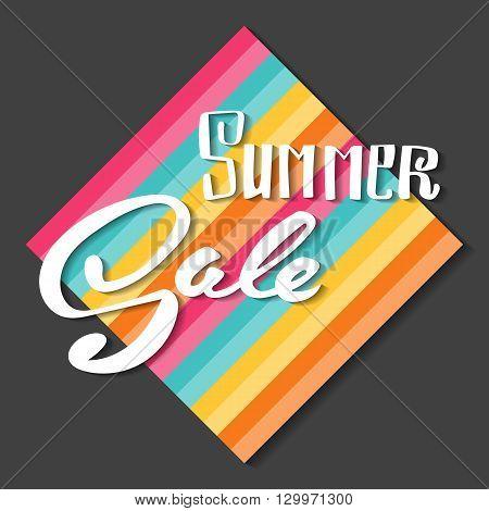 Summer Sale banner. Hand lettering vector banner.
