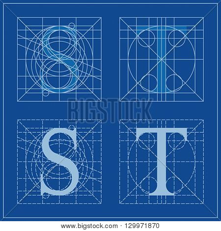 Designing Initials, letters S and T, blueprint.