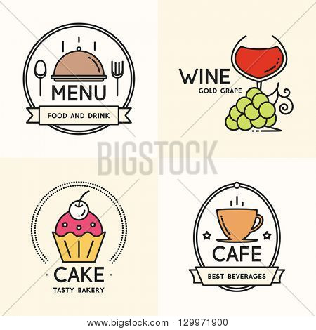 Label and logo set for restaurant, cafe, coffee house, bakeshop, menu design. Food and drinks logotype symbol design