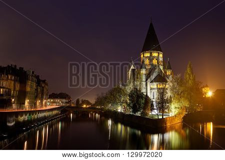View Of Metz With Temple Neuf Reflected In The Moselle River, Lorraine, France