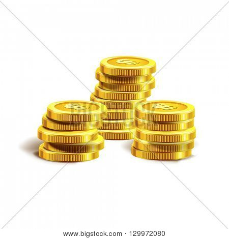 Vector Illustration of golden coins or money. Isolated on white.  Golden coins.