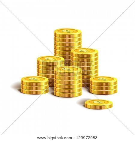 Vector Illustration of golden coins. Isolated on white.  Gold coins or money.