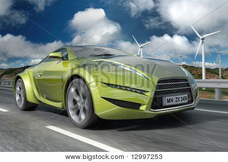 Green concept car.