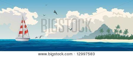 Tropical paradise. Turquoise ocean, tropical island, palm trees, white sand beach, yacht, seagulls, dolphins