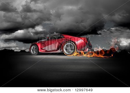 Sports car burnout. Original car design. poster