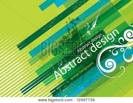 Green grunge striped background with floral element