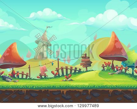 Seamless cartoon stylized vector illustration on the theme of the European landscape with a trees. For print create videos or web graphic design user interface card poster.