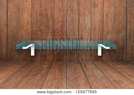 Glass shelf on old wooden texture background, stock photo