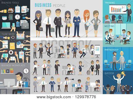 Business people set. Vector illustration.