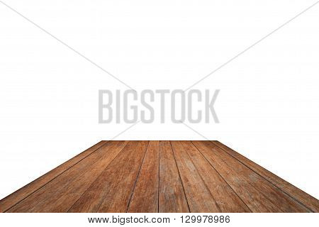 Old wooden table top isolated on white background, stock photo