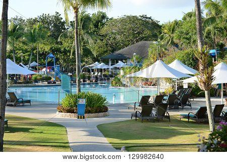 CEBU PHILIPPINES - APRIL 5 2016: Shangri-La Mactan Resort and Spa pool. The luxury resort