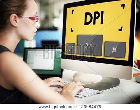 Dots Per Inch Resolution Pixel Monitor Digital Art Concept
