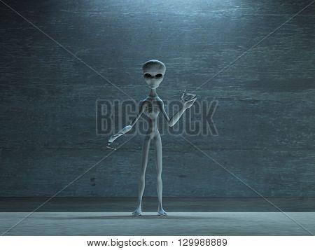 naked gray alien being 3D Render