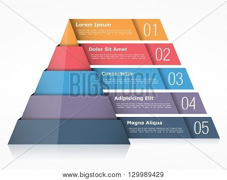 Pyramid chart with five elements, pyramid infographics template, vector eps10 illustration