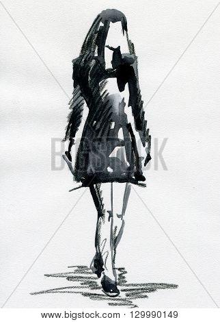 watercolor sketch silhouette fashionable woman. fashion background
