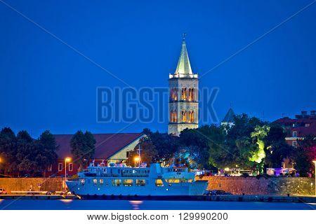 Town of Zadar waterfront evening view Dalmatia Croatia