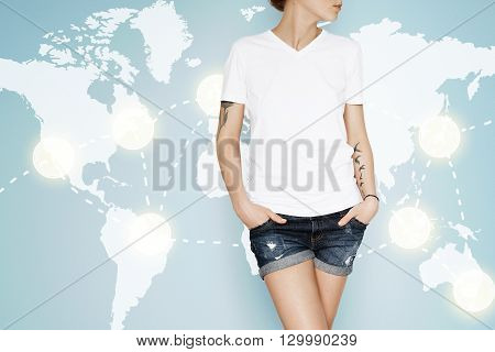 Advertising And T-shirt Design Concept. Cropped Portrait Of Young Female Posing In White Copy Space