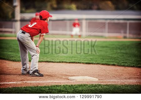 Youth Baseball game, third base