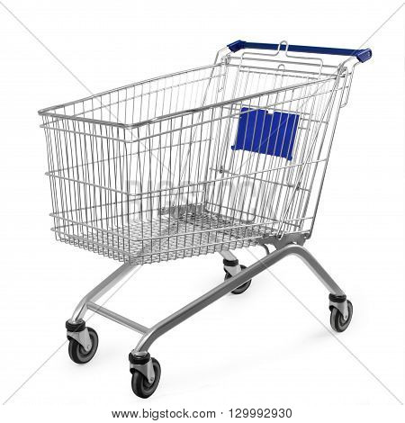 Metal shopping cart isolated on white background