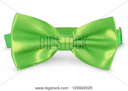 A green bow Tie isolated on white background