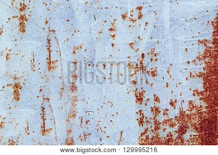 Texture of rusty metal. Vintage light blue rusty background.